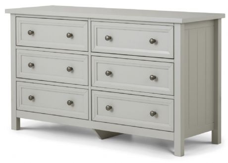 Maine Dove Grey 6 Drawer Wide Chest by Julian Bowen Sale Now on at Your Price Furniture